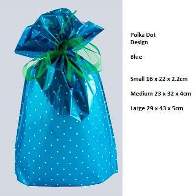 Polkadot Blue Drawstring Gift Bag by GiftMate