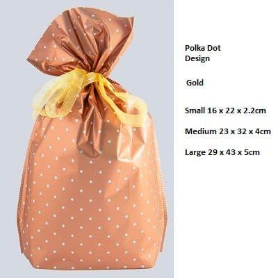 Polkadot Brown Drawstring Gift Bag by GiftMate