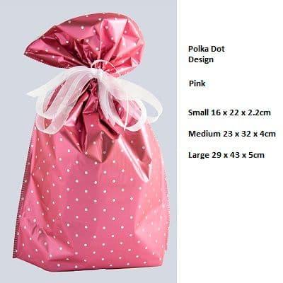 Polkadot Pink Drawstring Gift Bag by GiftMate