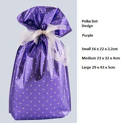 Polkadot Purple Drawstring Gift Bag by GiftMate