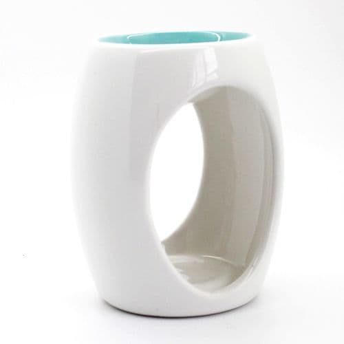 Simple White Glazed Oil Burner With Coloured Well - Clouds Online