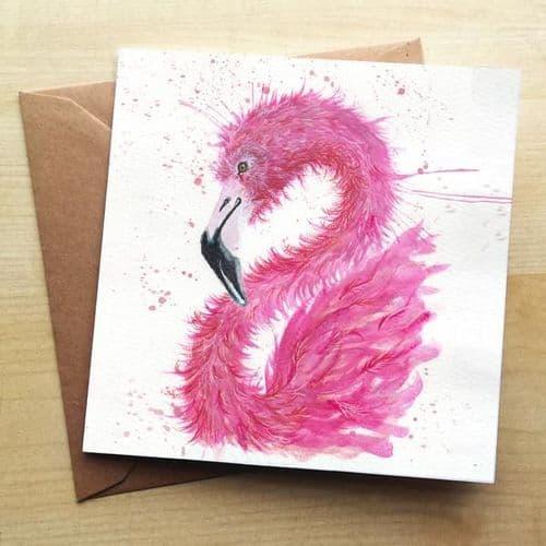 Splatter Flamingo Greetings Card