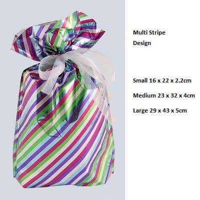 Stripe White Drawstring Gift Bag by GiftMate