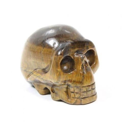 Tiger Eye Skull Carving