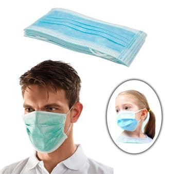 10 x Disposable Face Masks with Ear Loops for Adults & Child in Sealed Bag - One Size