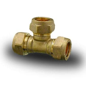 Brass Compression Plumbing Fittings - Equal Tee 8mm - 28mm