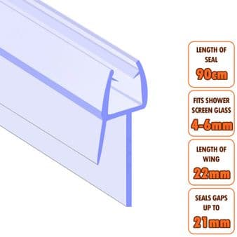 ECOSPA Shower Screen Door Seal (Type 2) • 4-6mm Glass Thickness • Seals Gaps up to 21mm