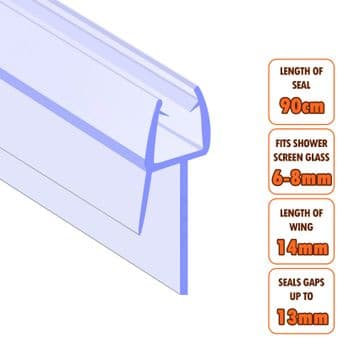 ECOSPA Shower Screen Door Seal (Type 2) • 6-8mm Glass Thickness • Seals Gaps up to 13mm