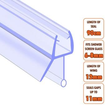 ECOSPA Shower Screen Door Seal (Type 3) • 6-8mm Glass Thickness • Seals Gaps up to 11mm