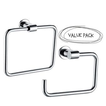 Arian 'Destiny' Wall Mounted Square Toilet Roll Holder & Towel Ring in Chrome