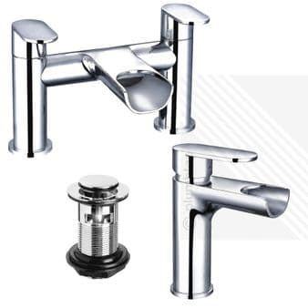 Arian India Curved Waterfall Basin Mixer and Bath Filler Tap in Chrome with Waste