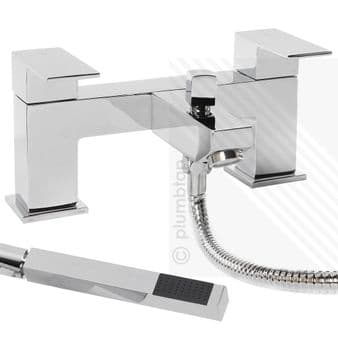 Arian 'Tulsi' Square Bath/Shower Mixer with Handset and Hose in Chrome