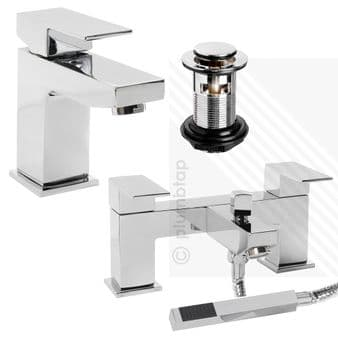 Arian 'Tulsi' Square Bathroom Basin Mixer and Bath Shower Mixer Tap Pack