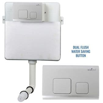 Concealed Cistern Universal WC | Back to Wall Floor Standing | Satin Flush Plate  (Type 2) | EcoSpa®