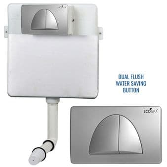 Concealed Cistern Universal WC | Back to Wall Floor Standing | Satin Flush Plate (Type 4) | EcoSpa®