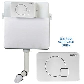 Concealed Cistern Universal WC | Back to Wall Floor Standing | White Flush Plate & Button  | EcoSpa®