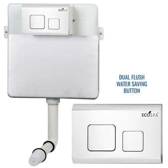 Concealed Cistern Universal WC | Back to Wall Floor Standing | White Flush Plate (Type 2) | EcoSpa®