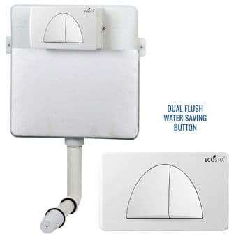 Concealed Cistern Universal WC | Back to Wall Floor Standing | White Flush Plate (Type 3) | EcoSpa®