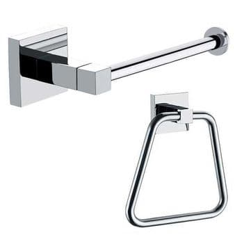 Arian Pro Square Towel Ring & Toilet Roll Holder in Chrome