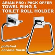 ECOSPA 2 Piece Square Toilet Roll Holder and Towel Ring in Chrome