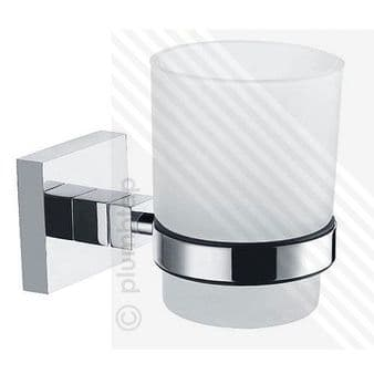 ECOSPA Bathroom Accessory - Drinking Glass Tumbler or Toothbrush Holder Chrome