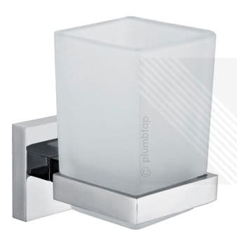 ECOSPA Frosted Glass Toothbrush Tumbler Bathroom Accessory • Chrome Holder