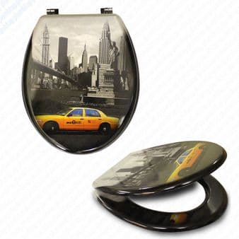 MDF New York Print Novelty Toilet Seat with Chrome Metal Bottom Fixing Hinges