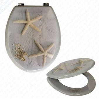 MDF Starfish Print Novelty Toilet Seat with Chrome Metal Bottom Fixing Hinges