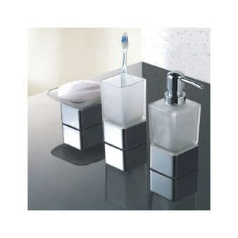 Modern Frosted Glass/Chrome Bathroom Accessories Pack   Soap Dish, Tumbler & Dispenser