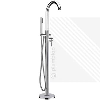 Premier Floor Free Standing Bath Shower Mixer | Single Lever Tap Handset Chrome