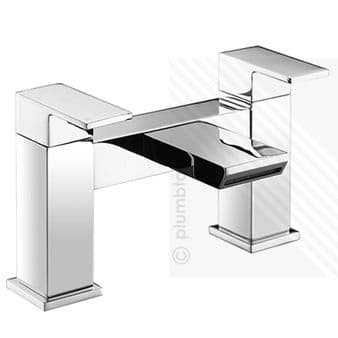 Scudo Escobar Modern Waterfall Bath Filler Mixer Tap Dual Levers Deck Mounted Chrome