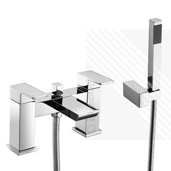 Scudo Escobar Modern Waterfall Bath Shower Mixer Tap Dual Levers Deck Mounted Chrome
