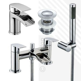 Scudo Modern Bath Shower Mixer & Basin Mixer Tap Pack with Slotted Click-Clack Waste   Deck Mounted   Brass with Chrome Finish