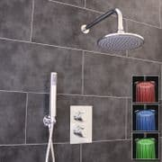 Thermostatic 2 Way Shower Valve | 2 Round Handles with Round LED Overhead Shower Drencher & Handset | EcoSpa®
