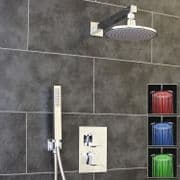 Thermostatic 2 Way Shower Valve | 2 Square Handles with Round LED Overhead Shower Drencher & Handset | EcoSpa®