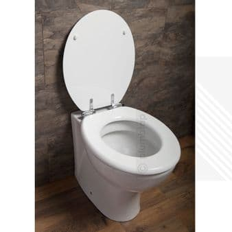 Toilet Seat White High Gloss Soft Close MDF | Chrome Metal Bottom Fixing Hinges