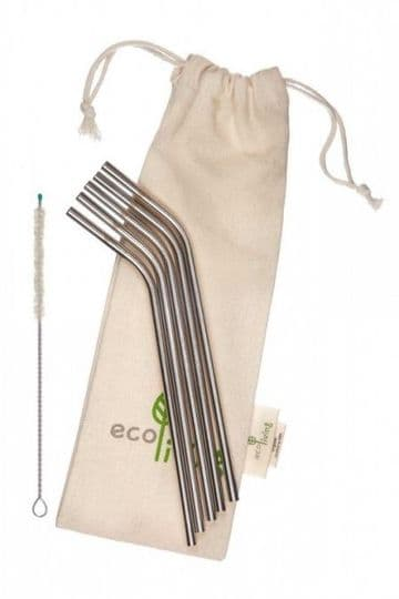 5 Stainless Steel Straws (with brush & pouch)