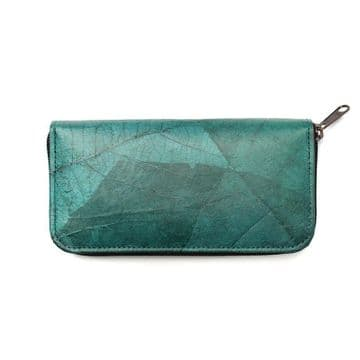 Leaf Leather Turquoise Long Wallet