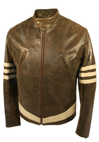 CUSTOM MADE X-Men 1 'Wolverine' Style Leather Jacket with Cream Stripes As Worn by Hugh Jackman