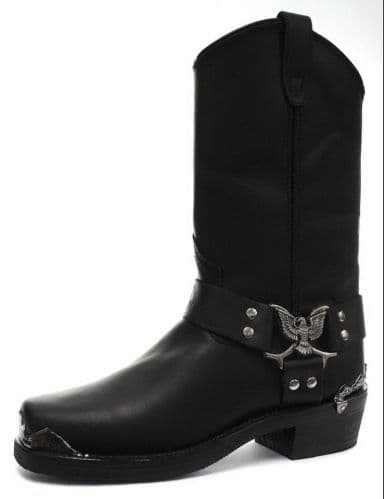 "Grinders Biker ""Eagle"" Embellished Harness High-leg Boots - Style: EAGLE HI"