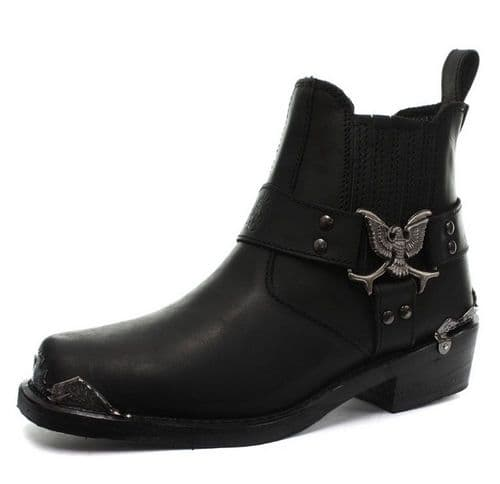 "Grinders Biker ""Eagle"" Embellished Harness Low-leg Boots - Style: EAGLE LO"