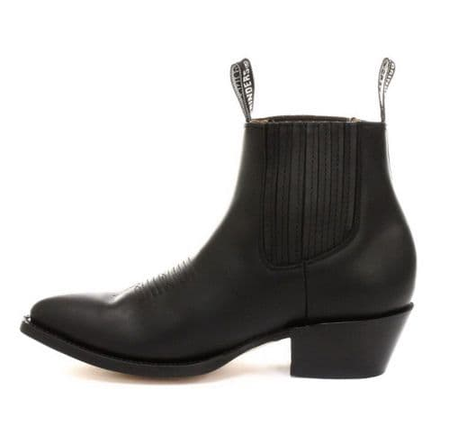 Grinders Slip on Ankle Boots with Front Stitching details in Black - Style: MAVERICK