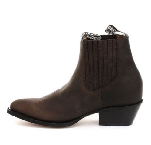 Grinders Slip on Ankle Boots with Front Stitching details in Brown - Style: MAVERICK