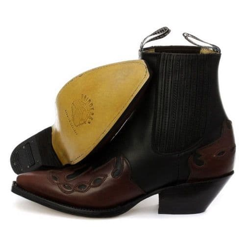 Grinders Western Cowboy Ankle Boots in Black with Burgandy Features - Style: ARIZONA LO