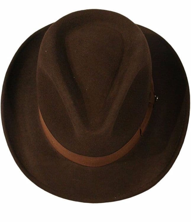 Indiana Jones Style 100% Felt Cotton Fedora Hat with Ribbon Band