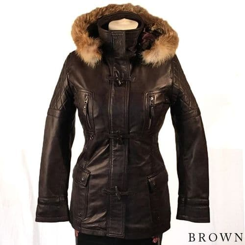 Ladies 'Frilla' Soft Lambskin Hooded Jacket