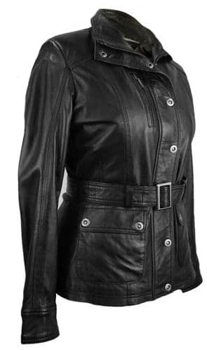 Ladies Vintage Style Belted Leather Jacket in Black, Light Brown, Chestnut Brown