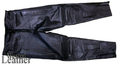 Leather Biker Trousers Limo