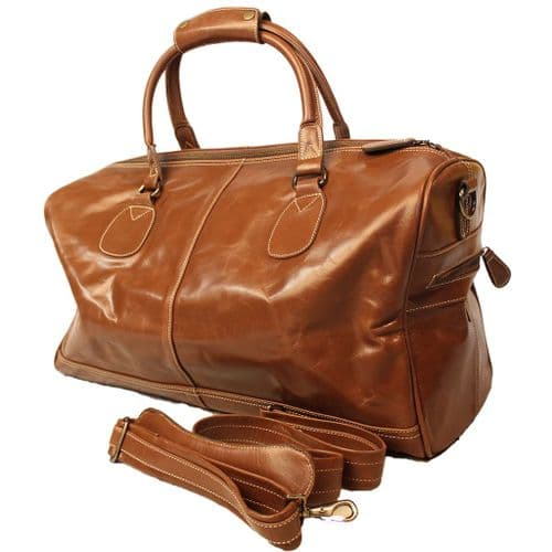 Leather Holdall Travelbag in Tan / Chestnut