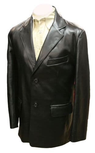 Mission Impossible Leather Blazer in Black Nappa Lambskin
